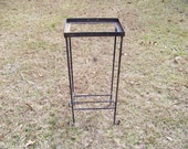Vintage Metal Table...Small Aquarium Stand...Tile Inset Table...Side Table...Industrial Decor...Apartment Living Decor