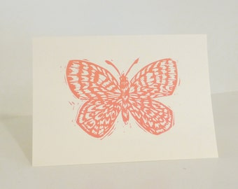 Butterfly Art Print & Envelope (coral color)