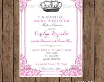 Custom Printed Royal Princess Baby Shower Invitations - 1.00 each with envelope