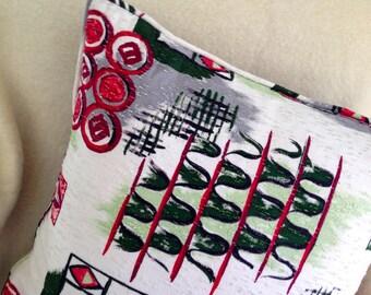 Wild and Wacky Eames Era Barkcloth Fabric Pillow //Decorative Pillow //Mid Century Modern Throw Pillow