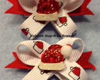 Santa Hat Christmas Bling Snap N Go Dog Bows: Set of 2