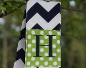 Camera Strap Cover- lens cap pocket and padding included- Monogrammed Navy Chevron/ Lime Dot