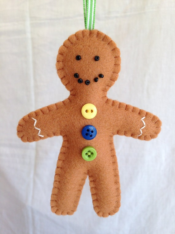 Christmas Decorations Felt Gingerbread Man by MichelleGood