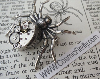 Steampunk Pin Silver Spider Brooch Vintage Movement Rustic Primitive Antique Gothic Victorian Gothic Brooch Metal Spider Pin