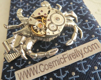 Men's Steampunk Tie Clip Silver Crab Tie Clip Vintage Watch Movement Nautical Tie Bar Gothic Victorian Men's Tie Clip Unique Men's Gifts