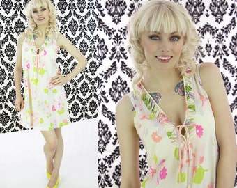 60s Mod Nightie Vintage Floral Babydoll 1960s Mini Nightgown Slip Pink Floral Nylon Sissy Mad Men Small S M