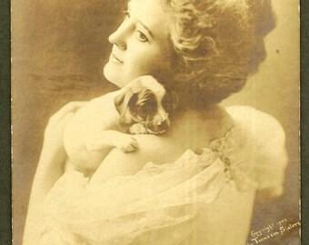 Beauty with Puppy Beatrice Tonnesen Pioneer Photographer RPPC