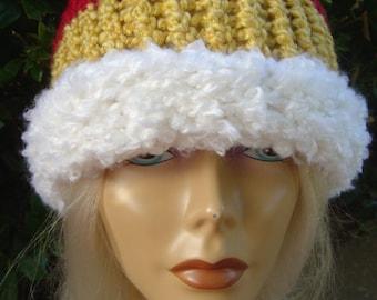 Red Gold White Striped Beanie Toboggan Ski Hat - OOAK MWL by an EtsyMom