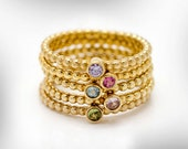 5 Gold Stacking Rings Birthstones, February, April, August, October,December Birthday Gift for Her, Gift Gemstone Rings,Free Shipping