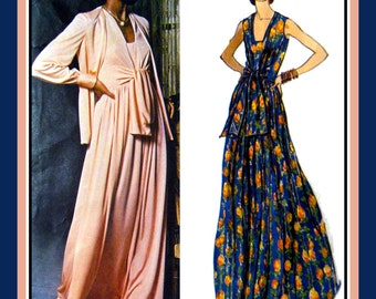 Vintage 1970s- Eveinng Gown -Day Dress- Matching Jacket Ensemble -Designer Vogue Sewing Pattern -Front Tie- Deep V Neckline -Size 12 -Rare