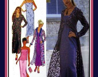 Feminine Chic-Long Slip Dress-Empire Waist Long Coat-Cami Top-Long Skirt-Sewing Pattern-Fur & Feather Trim-Side Slits Uncut-Size 8-18-Rare