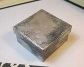 """Silver and Black Paper Mache 3"""" x 3"""" x 1"""" Gift Box"""