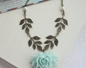 Large Mint Green Rose, Brass Sprig Leaf, Ivory Pearls Necklace. Bridesmaids Gift Rustic Country Wedding, Maid of Honor. Green Wedding, Sis