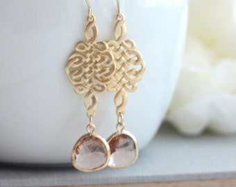 Gold Celtic Knot Ivory Pear Champagne Peach Earrings. Bridal. Wedding Jewelry. Bridesmaid Gift. Bridesmaid Earrings. Celts, Nordic Inspired