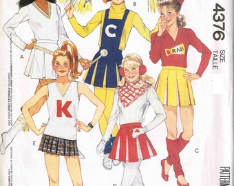 Cheerleader Detachable Bib Briefs Pullover To McCalls 4376 Halloween Costume Sewing Pattern Teen Girls Size 11 12 13 14 Bust 32 33.5