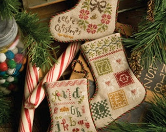 Lizzie Kate Flora McSample's 2013 Stockings #161 - Christmas Counted Cross Stitch Chart, Pattern with Embellishments