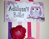 HAIR BOW HOLDER - Personalized Pink Purple Owl HairBow Holder - Bows and Clips Organizer - Girls Personal Hair Bow and Clip Hanger Hb0086