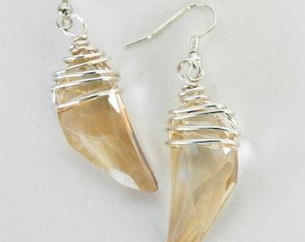 Wire Wrapped Crystal Earrings in Pale Gold by Debbie Renee, Statement Earrings