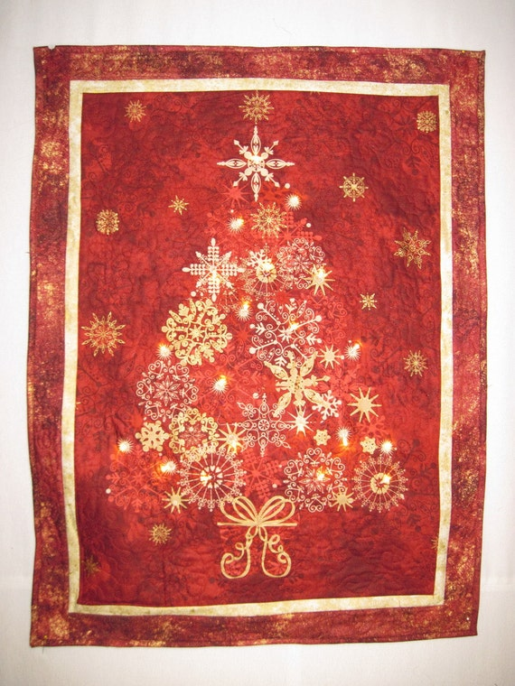 Sale Christmas Tree with Lights Quilted wall by KellettKreations