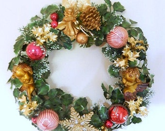 vintage Christmas wreath, Christmas decor, 15 inch diameter, glass ornaments,  golden angels, wallhanging, Holiday decor