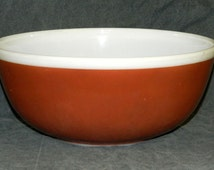 Vintage PYREX Bowl 404 Brown White Nesting Mixing Serving 4 Quart Qt American Fall Milk Glass CrabbyCats Crabby Cats