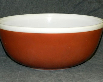PYREX Bowl 404 Brown White Nesting Mixing Serving 4 Quart Qt American Fall Milk Glass Vintage CrabbyCats Crabby Cats