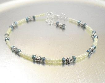 Beaded Ankle Bracelet - Blue Crystal and Pastel Cream Ceylon Glass Anklet
