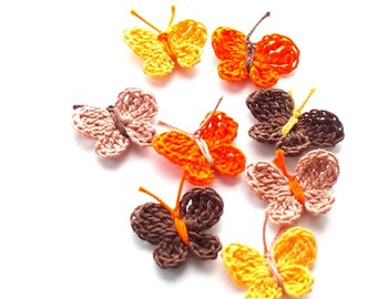Crochet Butterfly Appliques, Embellishments Set of 8 Orange Yellow Brown