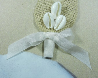 Cowry Boutonniere - Burlap Cowries Boutonniere or Corsage