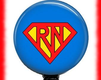 Super Nurse ID Badge Reel, ID Badge Holder, Retractable Badge Reel, Retractable ID Badge Holder, Nursing Badge Holder, Badge Holders