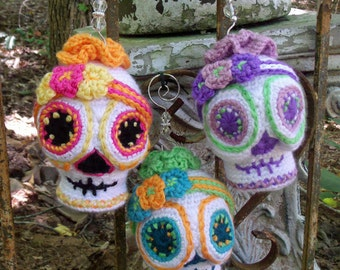 Sugar Skull Crochet Pattern Amigurumi Day of the Dead Halloween crochet ornament decor doll SugarSpun Skullz by CopperSlay
