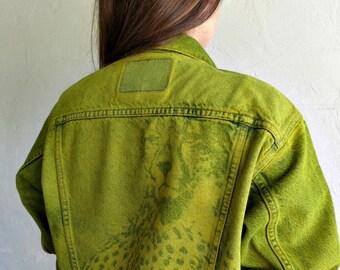 "The Vintage Fluoro Green ""Cheetah Watch"" Levi's Jacket"