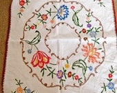 Vintage Hand Embroidered Tablecloth - Floral
