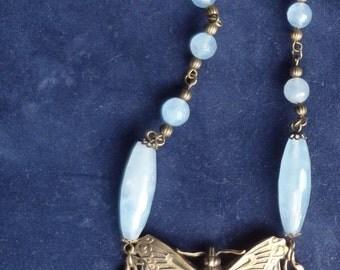 Summer Sale--Pale Aqua Art Nouveau Necklace with Aquamarine Fluorite