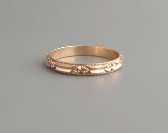 Geometric Eternity Ring. 14k Gold. Wedding Band. Stacking. Large Size.
