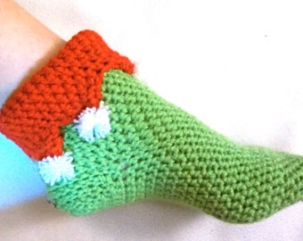 Knitting Pattern For Elf Slippers : Elf Slipper Socks, 2 Pairs, Crochet Christmas Booties