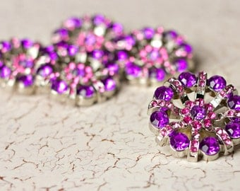 5 Rhinestone Buttons - Purple/Hot Pink Rhinestone Button - Lisa Button - 32mm - Plastic Buttons - Acrylic Buttons