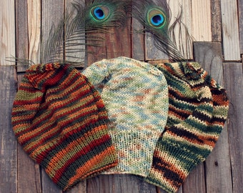 Slouchy Knit Hat // Multicolored Striped Slouch Beanie // EXOTIC BIRD COLLECTION // Fall Knit Slouchy Beanie // Boho Chic Fall Accessories
