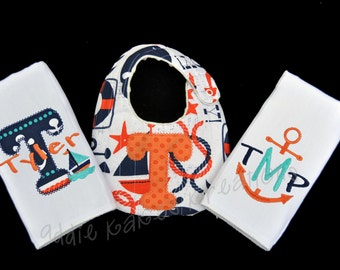 Nautical baby gift etsy nautical baby gifts nautical baby bib nautical burpcloths baby boy gift set negle Gallery