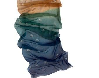 Silk scarf Night Ocean Stars Ombre silk shawl Hand painted scarf with silver stars. Gradient scarf in navy blue green sandy Shawl scarf silk