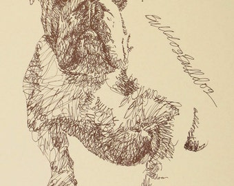 English Bulldog dog art portrait drawing from words. Your dog's name added into art FREE. Great gift. Signed Kline 11X17 Lithograph 183/500.