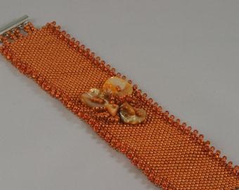 Tangerine Dream. Beaded bracelet. Beadwork.