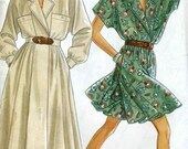 Vintage 80s New Look 6588 UNCUT Misses Pant Dress and Midi Dress Sewing Pattern Size 8-20