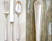 Vintage Silver Plate Flatware Place Setting / 1930's Fiesta Pattern / Wedding Silverware