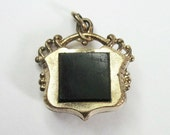 Antique Victorian Fob - Pendant - Charm - Front / Back - Black and Citrine Color - Shield - 1880s