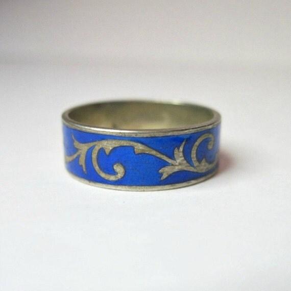 vintage wedding ring blue enamel wedding band by wickeddarling
