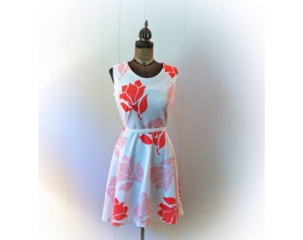 Vintage 1970s Dress Coral Orange and White with Original Belt