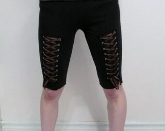 SALE Brown Zebra Corset Women's Capri Pants DIY Metal Punk Goth Festival