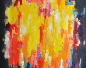"Original Abstract Painting Cityscape LARGE 27x39"" UNSTRETCHED Rolled in a tube, Colorful Bright Yellow"