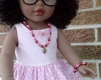 Pink and red jewelry for American Girl and other 18 inch dolls   WW2 heart pendant